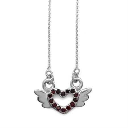 Garnet CZ 925 Sterling Silver Angel Heart Teens/Girls Pendant w/ 15-16.5 Inch Adj. Chain Necklace