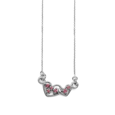 "Natural Pink Tourmaline 925 Sterling Silver Interlock Heart Pendant w/ 18-19.5"" Adj. Chain Necklace"