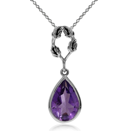2.07ct. Natural African Amethyst 925 Sterling Silver Leaf Drop Pendant w/ 18 Inch Chain Necklace