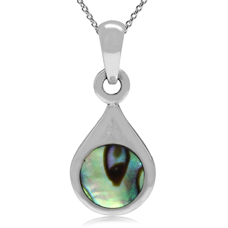 "Abalone/Paua Shell Gold Plated 925 Sterling Silver Drop Shape Solitaire Pendant w/18"" Chain Necklace"