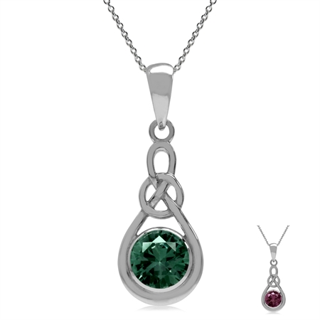 "6MM Simulated Alexandrite 925 Sterling Silver Celtic Knot Pendant w/18"" Necklace"