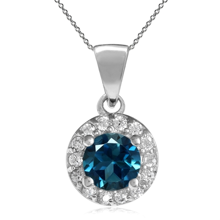5MM Genuine Round Shape London Blue Topaz 925 Sterling Silver Halo Pendant w/ 18 Inch Chain Necklace