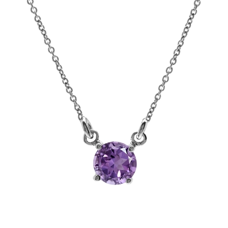 """Natural Amethyst White Gold Plated 925 Sterling Silver Pendant w/16-18"""" Adjustable Chain Necklace"""
