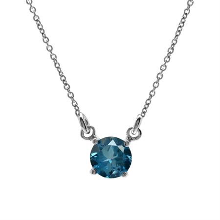 1.03ct. Genuine London Blue Topaz 925 Sterling Silver Pendant w/16-18 Inch Adj. Chain Necklace