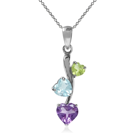 "Natural Heart Shape Amethyst, Blue Topaz & Peridot 925 Sterling Silver Pendant w/ 18"" Chain Necklace"
