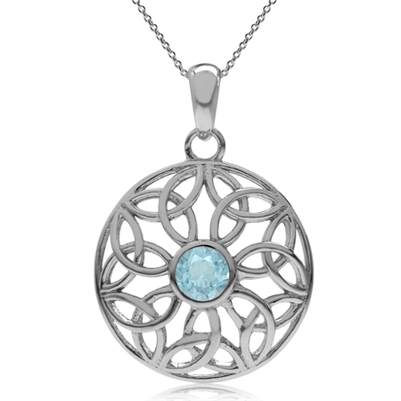 "Genuine Blue Topaz 925 Sterling Silver Triquetra Celtic Knot Circle Pendant w/ 18"" Chain Necklace"
