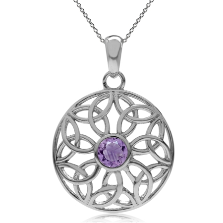 Natural Amethyst 925 Sterling Silver Triquetra Celtic Knot Circle Pendant w/ 18 Inch Chain Necklace