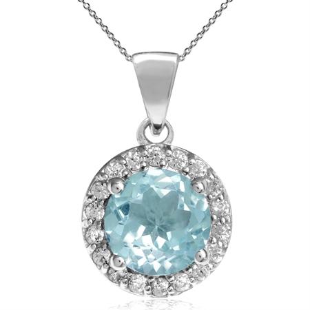 """1.58ct. 7MM Genuine Round Shape Blue Topaz 925 Sterling Silver Halo Pendant w/ 18"""" Chain Necklace"""