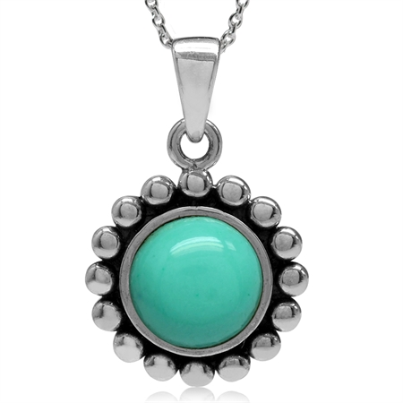Created Green Turquoise 925 Sterling Silver Bali/Balinese Style Pendant w/ 18 Inch Chain Necklace
