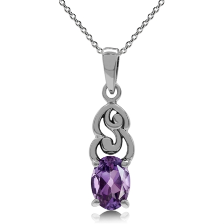 Natural Amethyst 925 Sterling Silver Victorian Style Pendant w/ 18 Inch Chain Necklace
