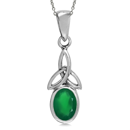 "Natural Emerald Green Agate 925 Sterling Silver Triquetra Celtic Knot Pendant w/ 18"" Chain Necklace"