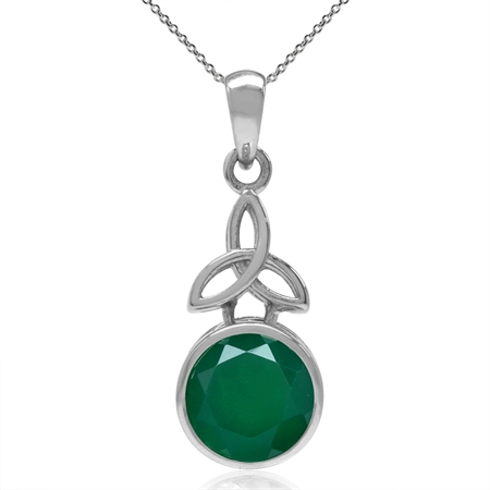 "2.44ct. Emerald Green Agate 925 Sterling Silver Triquetra Celtic Knot Pendant w/ 18"" Chain Necklace"