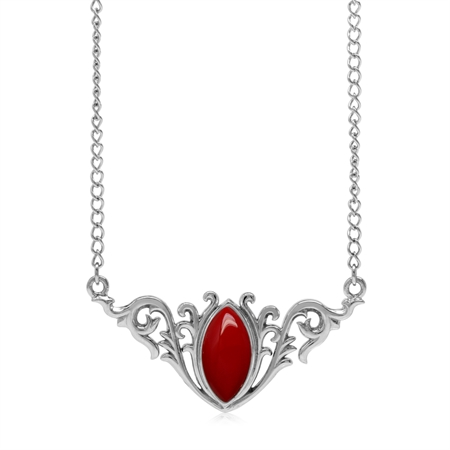 """Created Red Coral 925 Sterling Silver Baroque Inspired Pendant w/ 16-18"""" Adjustable Chain Necklace"""