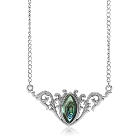 "Abalone/Paua Shell 925 Sterling Silver Baroque Inspired Pendant w/ 16-18"" Adjustable Chain Necklace"