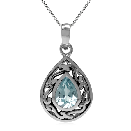 Genuine Blue Topaz 925 Sterling Silver Filigree Drop Solitaire Pendant w/ 18 Inch Chain Necklace