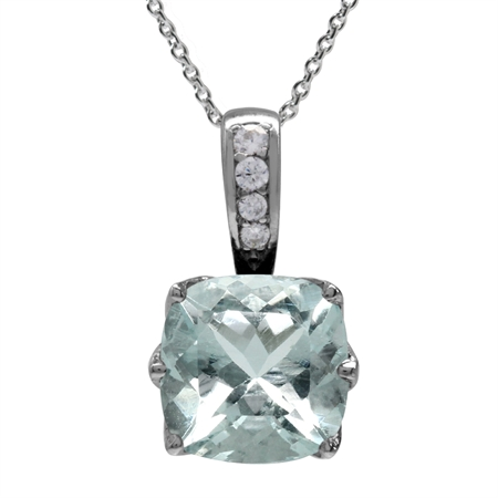 "2.03ct. 8MM Genuine Cushion Shape Blue Aquamarine 925 Sterling Silver Pendant w/18"" Chain Necklace"