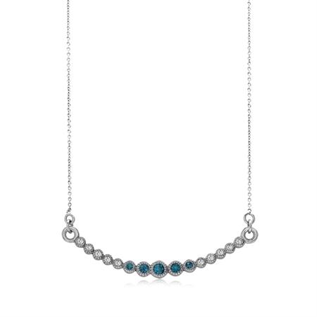 Horizontal Curved London Blue Topaz 925 Sterling Silver Pendant w/ 15-16.5 Inch Adj. Chain Necklace