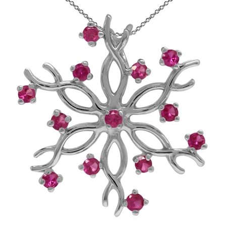 Synthetic Red Ruby 925 Sterling Silver Snowflake Pendant w/ 18 Inch Chain Necklace