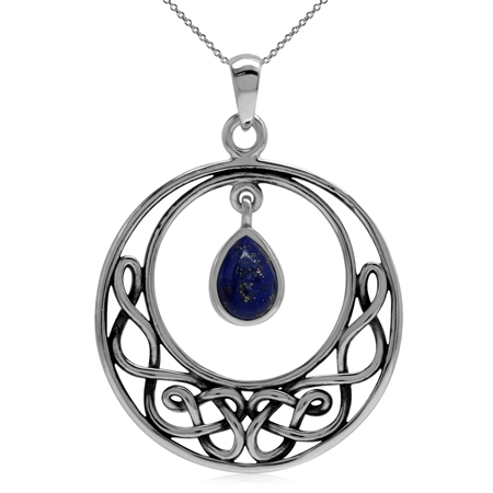 Genuine Lapis 925 Sterling Silver Celtic Knot Drop Dangle Pendant w/ 18 Inch Chain Necklace