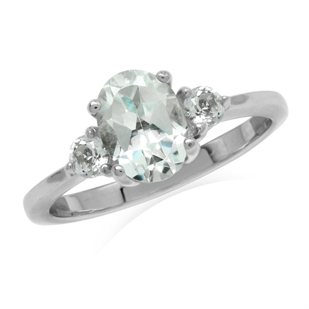 1.91ct. Genuine White Topaz Gold Plated 925 Sterling Silver Engagement Ring