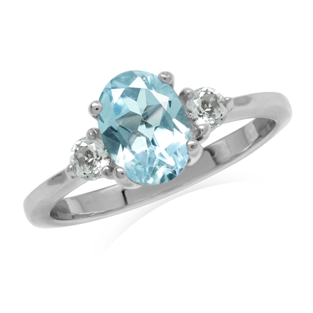 1.58ct. Genuine Blue Topaz White Gold Plated 925 Sterling Silver Engagement Ring