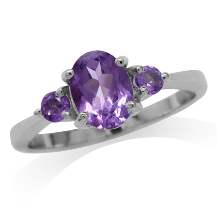 1.28ct. Natural Amethyst White Gold Plated 925 Sterling Silver Engagement Ring