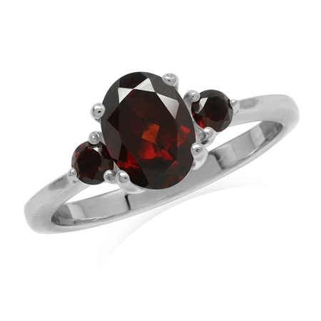 1.6ct. Natural Garnet White Gold Plated 925 Sterling Silver Engagement Ring