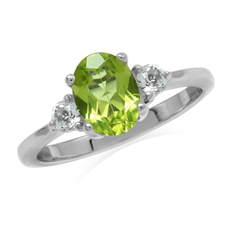 1.23ct. Natural Peridot & White Topaz Gold Plated 925 Sterling Silver Engagement Ring