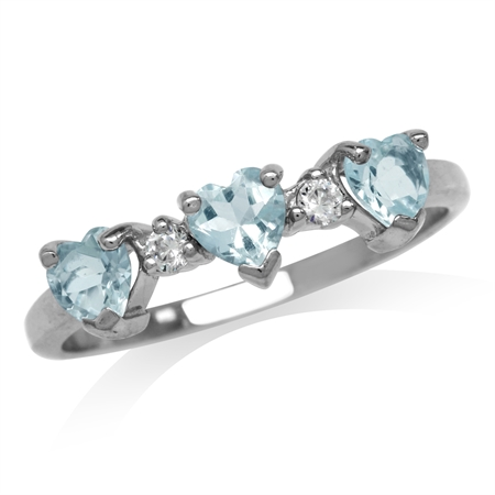 3-Stone Genuine Heart Shape Blue Aquamarine & White Topaz 925 Sterling Silver Ring