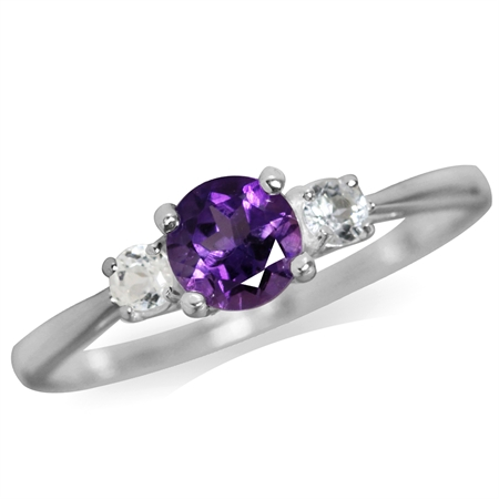 Petite Natural African Amethyst & White Topaz 925 Sterling Silver Ring