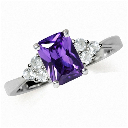 Amethyst Purple CZ & White CZ 925 Sterling Silver Engagement Ring