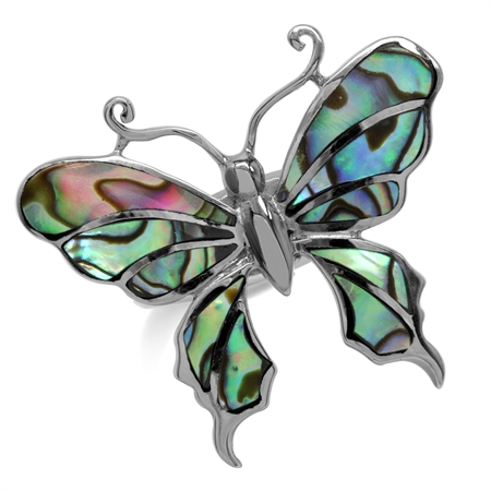 BIG Abalone/Paua Shell Inlay White Gold Plated 925 Sterling Silver Butterfly Ring