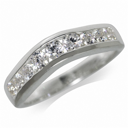 White CZ 925 Sterling Silver Journey Ring