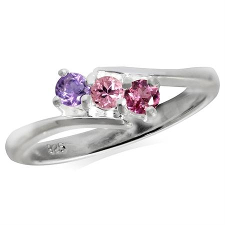 3-Stone Natural Pink Tourmaline, Rhodolite Garnet & Amethyst 925 Sterling Silver Ring