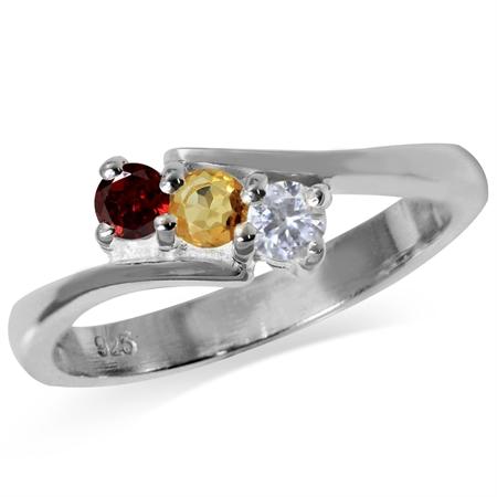 3-Stone Natural Garnet, Citrine & White Topaz 925 Sterling Silver Ring