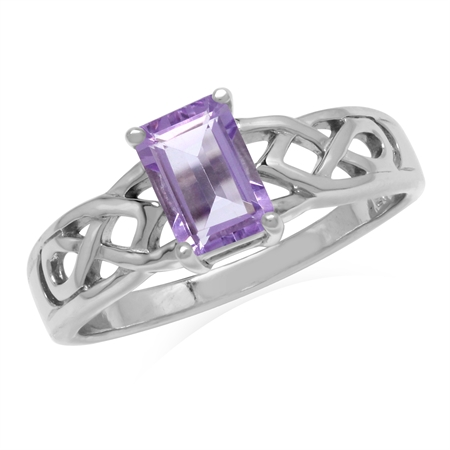 1.05ct. 7x5MM Natural Octagon Shape Amethyst 925 Sterling Silver Celtic Knot Solitaire Ring