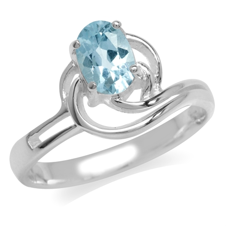 Genuine Blue Topaz White Gold Plated 925 Sterling Silver Swirl Solitaire Ring