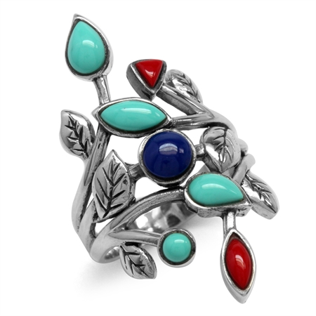 Created Green Turquoise, Red Coral & Blue Lapis 925 Sterling Silver Leaf Vintage Style Ring