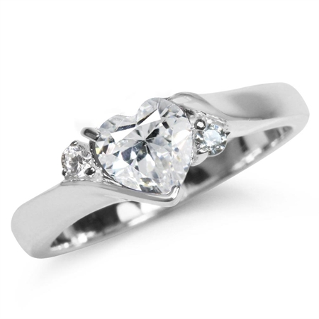 Heart Shape White CZ 925 Sterling Silver Engagement Ring