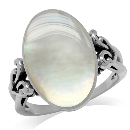 Oval Shape White Mother Of Pearl Inlay 925 Sterling Silver Victorian Style Heart Knot Ring