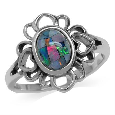 Mosaic Opal 925 Sterling Silver Filigree Flower Ring