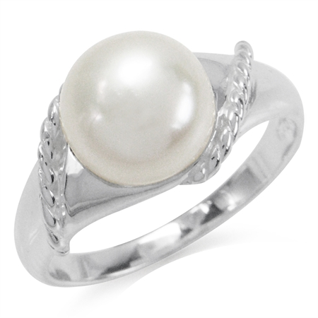 9MM Cultured White Pearl 925 Sterling Silver Rope Ring