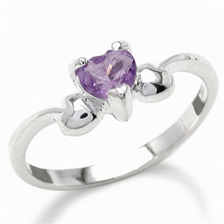 Natural February Birthstone Heart Shape Amethyst 925 Sterling Silver Solitaire Ring
