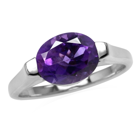 2.2ct. 10x8MM Natural Oval Shape Amethyst 925 Sterling Silver Solitaire Ring