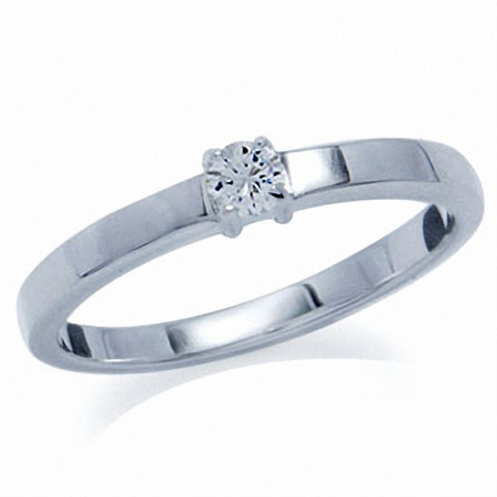 Natural White Zircon 925 Sterling Silver Engagement Ring