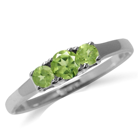 Petite 3-Stone Natural Peridot 925 Sterling Silver Promise Ring