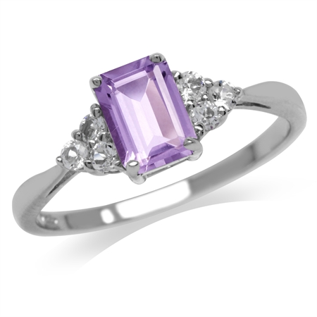 1.03ct. Natural Amethyst & White Topaz 925 Sterling Silver Engagement Ring