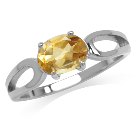 1ct. Natural Oval Shape Citrine 925 Sterling Silver Solitaire Ring
