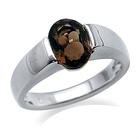 1.8ct Natural Smoky Quartz 925 Sterling Silver Solitaire Ring