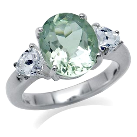 3.6ct. Natural Oval Shape Green Amethyst & White Topaz 925 Sterling Silver Cocktail Ring